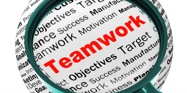 Teamwork Magnifier Definition Means Unity And Partnership